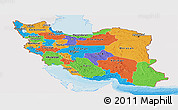 Political Panoramic Map of Iran, single color outside