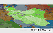 Political Shades Panoramic Map of Iran, darken