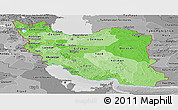 Political Shades Panoramic Map of Iran, desaturated