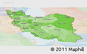 Political Shades Panoramic Map of Iran, lighten