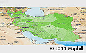 Political Shades Panoramic Map of Iran, satellite outside, bathymetry sea