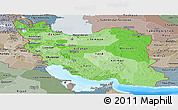 Political Shades Panoramic Map of Iran, semi-desaturated, land only