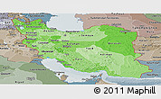 Political Shades Panoramic Map of Iran, semi-desaturated