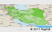 Political Shades Panoramic Map of Iran, shaded relief outside, bathymetry sea