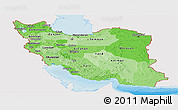 Political Shades Panoramic Map of Iran, single color outside