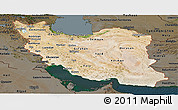 Satellite Panoramic Map of Iran, darken