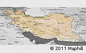 Satellite Panoramic Map of Iran, desaturated
