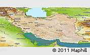 Satellite Panoramic Map of Iran, physical outside, satellite sea