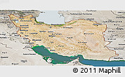 Satellite Panoramic Map of Iran, semi-desaturated, land only