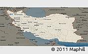Shaded Relief Panoramic Map of Iran, darken