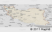 Shaded Relief Panoramic Map of Iran, desaturated