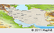 Shaded Relief Panoramic Map of Iran, physical outside