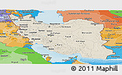 Shaded Relief Panoramic Map of Iran, political shades outside, shaded relief sea