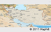 Shaded Relief Panoramic Map of Iran, satellite outside, shaded relief sea