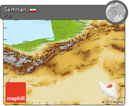 Physical Map of Semnan