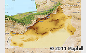 Physical Map of Semnan, satellite outside