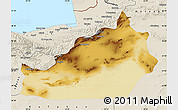 Physical Map of Semnan, shaded relief outside