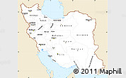 Classic Style Simple Map of Iran, single color outside