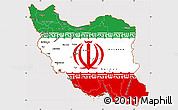 Flag Simple Map of Iran, flag centered