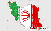 Flag Simple Map of Iran, flag aligned to the middle