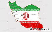 Flag Simple Map of Iran