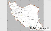 Gray Simple Map of Iran, cropped outside