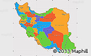 Political Simple Map of Iran, cropped outside