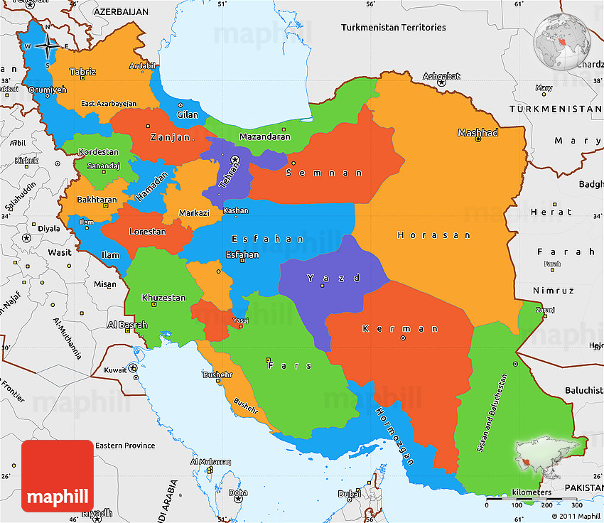 Political Simple Map Of Iran Single Color Outside Borders And Labels - Map of iran