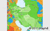 Political Shades Simple Map of Iran, political outside
