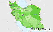 Political Shades Simple Map of Iran, single color outside