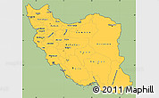 Savanna Style Simple Map of Iran, cropped outside