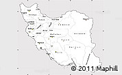 Silver Style Simple Map of Iran, cropped outside