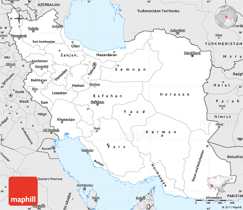 Simple Site Map: Silver Style Simple Map Of Iran