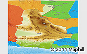 Physical Panoramic Map of Sistan and Baluchestan, political outside