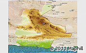 Physical Panoramic Map of Sistan and Baluchestan, satellite outside