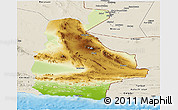 Physical Panoramic Map of Sistan and Baluchestan, shaded relief outside