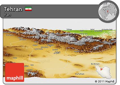 Physical Panoramic Map of Tehran