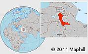Gray Location Map of West Azarbayejan