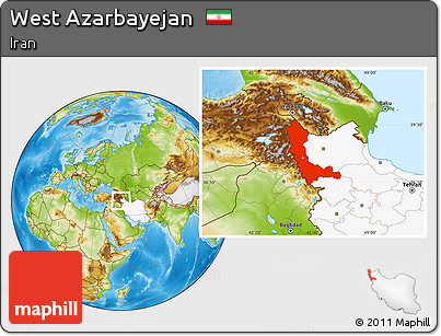 Physical Location Map of West Azarbayejan, highlighted country