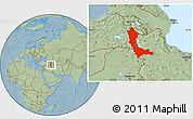 Savanna Style Location Map of West Azarbayejan, hill shading