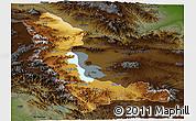 Physical Panoramic Map of West Azarbayejan, darken