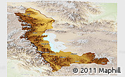 Physical Panoramic Map of West Azarbayejan, lighten