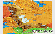 Physical Panoramic Map of West Azarbayejan, political outside