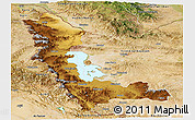 Physical Panoramic Map of West Azarbayejan, satellite outside
