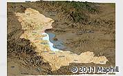 Satellite Panoramic Map of West Azarbayejan, darken