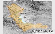 Satellite Panoramic Map of West Azarbayejan, desaturated