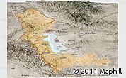 Satellite Panoramic Map of West Azarbayejan, semi-desaturated