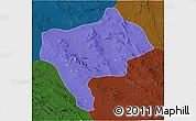 Political 3D Map of Yazd, darken
