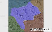 Political 3D Map of Yazd, darken, semi-desaturated