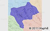 Political 3D Map of Yazd, lighten